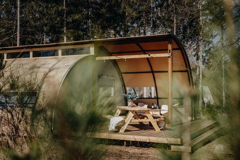 Design tent op de Veluwe voor 5 personen