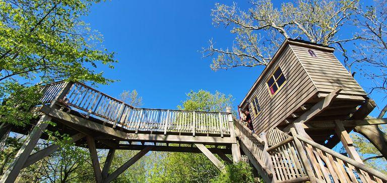 Boomhut met balkon in natuurlijke omgeving