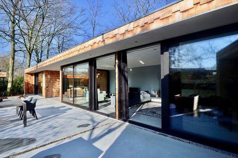Moderne houten design villa met hottub