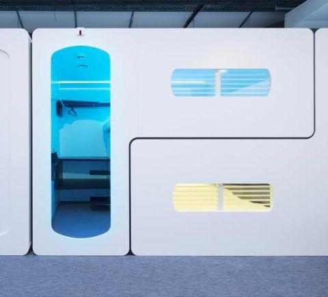 Overnacht in een futuristische slaapkamer